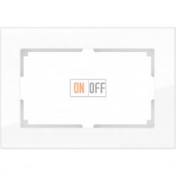 Рамка для двойной розетки Werkel Favorit, белое стекло a033478