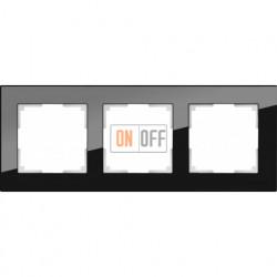 Рамка тройная Werkel Favorit, черное стекло a031799