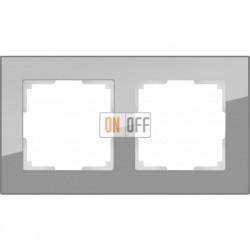 Рамка двойная Werkel Favorit, серое стекло a030776