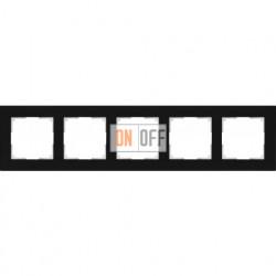Рамка пятерная Werkel Favorit, черное стекло a031801