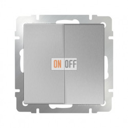 Выключатель двухклавишный проходной (из 2-х мест) 10 AX - 250 В, Werkel серебряный a029823