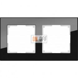 Рамка двойная Werkel Favorit, черное стекло a031798