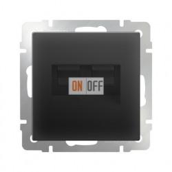 Розетка телефонная RJ-11 и интернет RJ-45, Werkel черный матовый a029857