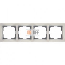 Рамка четверная Werkel Snabb, слоновая кость/серебро a028903