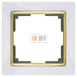 Рамка одинарная Werkel Snabb, белый/золото a035252