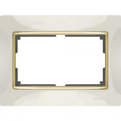 Рамка для двойной розетки Werkel Snabb, слоновая кость/золото a035259