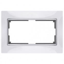 Рамка для двойной розетки Werkel Snabb, белый/серебро a033481