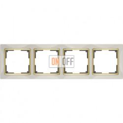 Рамка четверная Werkel Snabb, слоновая кость/золото a035250