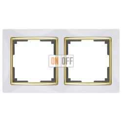 Рамка двойная Werkel Snabb, белый/золото a035253