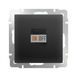 Телефонная розетка одинарная RJ-11, Werkel черный матовый a029855