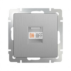 Интернет розетка одинарная 5 категории RJ-45 Werkel, серебряный рифленый a035647