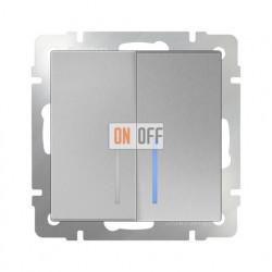 Выключатель двухклавишный проходной (из 2-х мест) с подсветкой 10 AX - 250 В, Werkel серебряный a029827