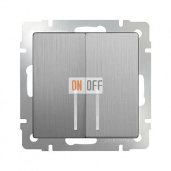 Выключатель двухклавишный с подсветкой 10 AX - 250 В Werkel, серебряный рифленый a035659