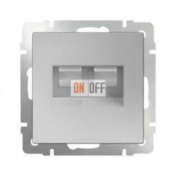 Интернет розетка двойная 5 категории RJ-45, Werkel серебряный a033760