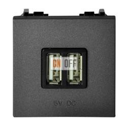 ABB NIE Zenit Механизм USB зарядного устройства, 2М, 2х750 мА / 1х1500мА N2285 AN антрацит
