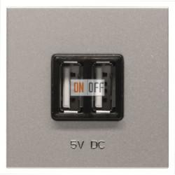 ABB NIE Zenit Механизм USB зарядного устройства, 2М, 2х750 мА / 1х1500мА серебристый N2285 PL