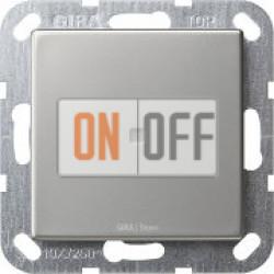 Выключатель 1-клавишный, с подсветкой, сталь