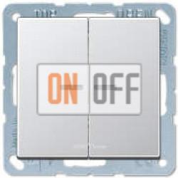 Выключатель 2-клавишный, с подсветкой, Алюминий