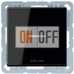 Выключатель 1-клавишный, с подсветкой, Черный