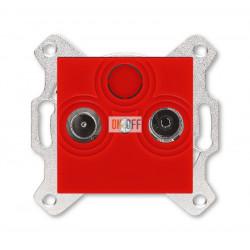 Розетка TV-R, проходная, 7дБ цвет Красный/Дымчатый черный ABB Levit