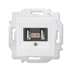 ABB EPJ Levit USB зарядка двойная, цвет белый / белый