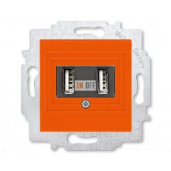 USB зарядка двойная, цвет Оранжевый/Дымчатый черный, Levit, ABB