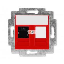 Розетка компьютерная RJ45 кат,5e+заглуш., цвет краcный / дымчатый чёрный ABB Levit