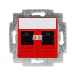 Розетка компьютерная, 2хRJ45 кат,5e цвет Красный/Дымчатый черный, Levit, ABB