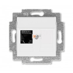 ABB EPJ Levit  Розетка компьютерная RJ45 кат,6+заглушка, цвет белый / белый