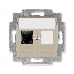 Розетка компьютерная RJ45 кат,6+заглушка, цвет Макиато/Белый, Levit, ABB