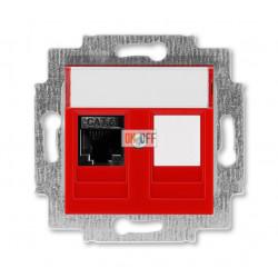 Розетка компьютерная RJ45 кат,6+заглушка,ABB Levit  краcный / дымчатый чёрный
