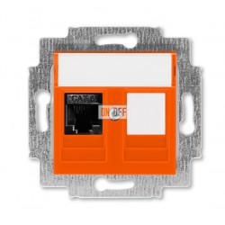 Розетка компьютерная RJ45 кат,6+заглушка, цвет Оранжевый/Дымчатый черный, Levit, ABB