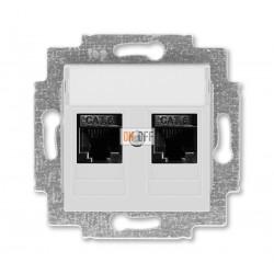 Розетка компьютерная, 2хRJ45 кат,6, цвет cерый / белый ABB Levit