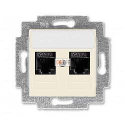 Розетка компьютерная, 2хRJ45 кат,6, цвет Слоновая кость/Белый, Levit, ABB