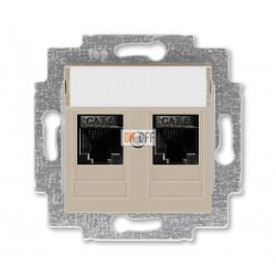 Розетка компьютерная, 2хRJ45 кат,6,цвет Макиато/Белый, Levit, ABB