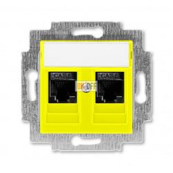 Розетка компьютерная, 2хRJ45 кат,6, цвет Желтый/Дымчатый черный, Levit, ABB