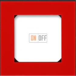 Рамка 1-ая (одинарная), цвет Красный/Дымчатый черный, Levit, ABB