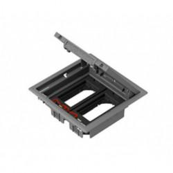 Напольный лючок 199х199 мм для 4 механизмов 45х45 или двух 45х90, c монтаж. коробкой, серый пластик