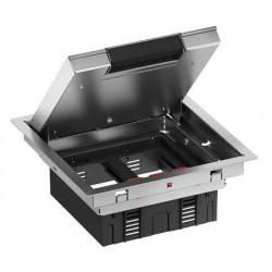 Напольный лючок 199х199 мм для 4 механизмов 45х45 или двух 45х90, с монтажной коробкой, нержавеющая сталь