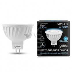 Лампа Gauss LED LENS MR16 GU5.3 5W 12V 4100K 201505205