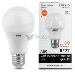 Лампа Gauss LED Elementary A60 7W E27 2700K 1/100 23217A
