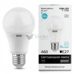 Лампа Gauss LED Elementary A60 E27 10W 220V 4100K 23220
