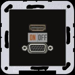 Розетка HDMI/VGA, цвет Черный, A500, Jung