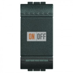 Установочный выключатель 1-клавишный; кнопочный 1 мод (винтовые клеммы), цвет Антрацит, LivingLight, Bticino