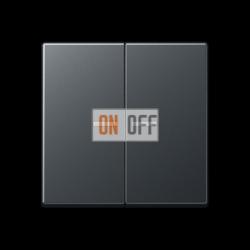 Выключатель 2-клавишный , с подсветкой, цветАнтрацит (матовый),A500,Jung