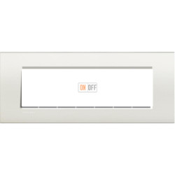 Рамка итальянский стандарт 7 мод прямоугольная, цвет Белый, LivingLight, Bticino