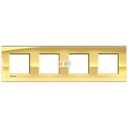Рамка 4-ая (четверная) прямоугольная, цвет Золото, LivingLight, Bticino