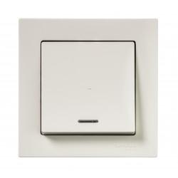 Выключатель 1-клавишный , с подсветкой, Бежевый, серия Atlas Design, Schneider Electric