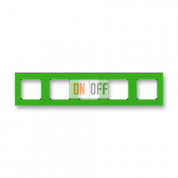 Рамка 5-ая (пятерная), цвет Зеленый/Дымчатый черный, Levit, ABB
