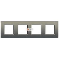 Рамка 4-ая (четверная) прямоугольная, цвет Серый шелк, LivingLight, Bticino